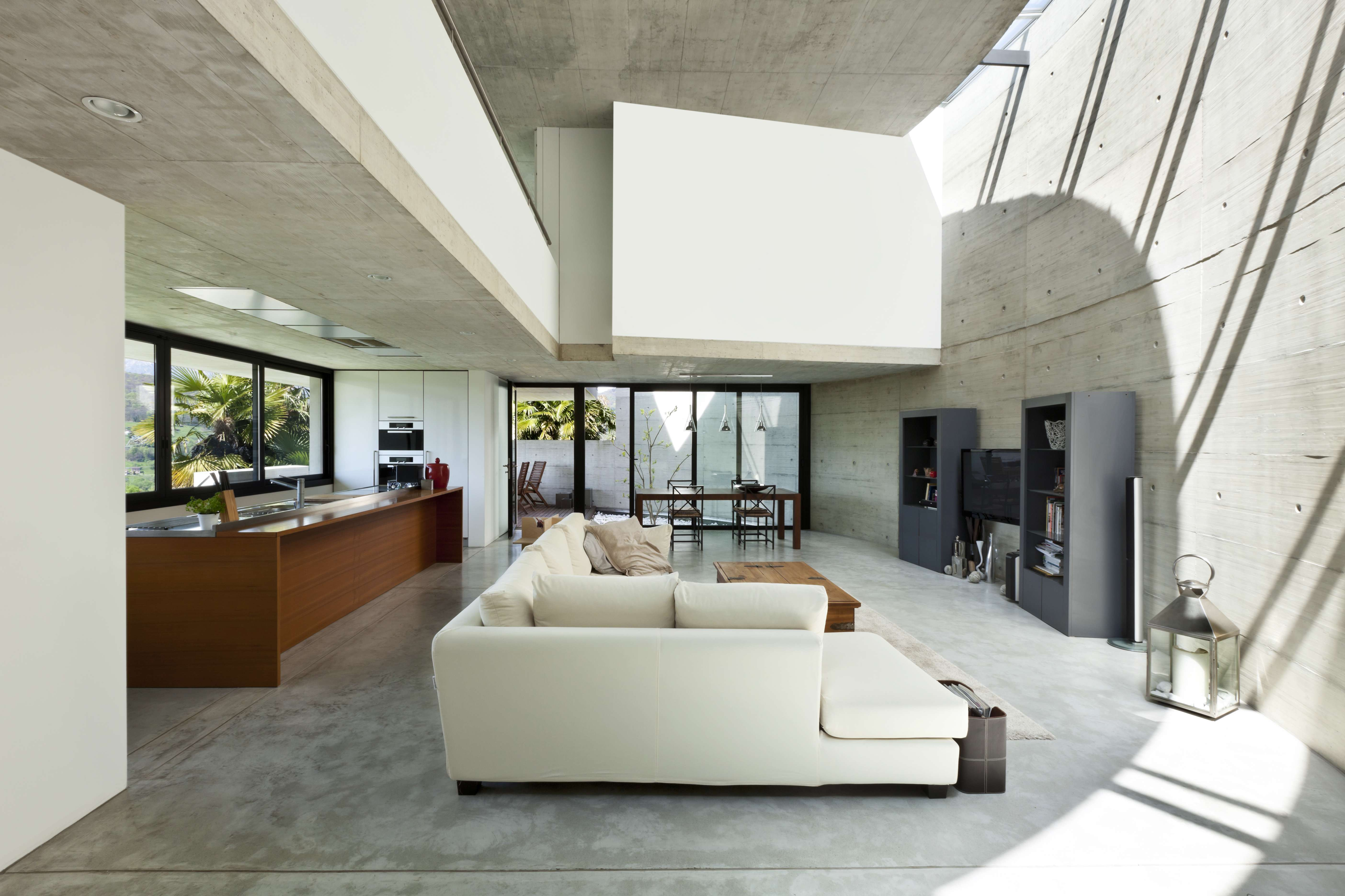 Modern Interieur Living : Beautiful modern house in cement interior living room