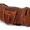 Brun læder taske - cylinderformet
