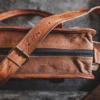 læder taske brun - kontorbrug