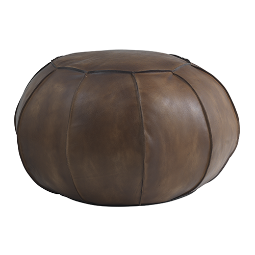 Round leather puff