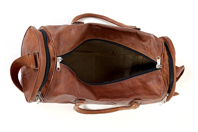 Cylinderformet brun læder taske